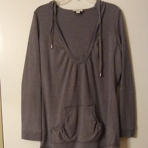 LOFT sz L gray hoodie sweatshirt
